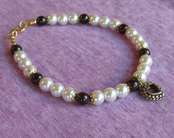Red Garnet and Pearl Gold Bracelet - Free Shipping