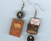 Book Cover earrings - Typewriter key jewelry - Keats Poetry quote - Poet readers literary Librarian gift - asymmetrical Designs by Annette