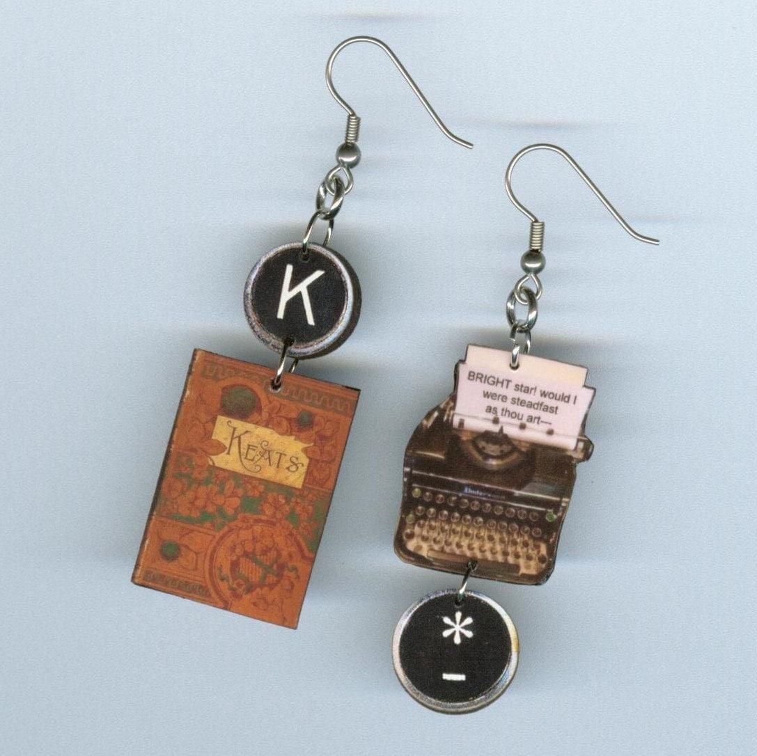 Book Cover Handmade Jewelry ~ Book cover earrings typewriter key jewelry keats poetry