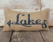 To the Lake -  Burlap Doorstop - Lake Cabin Decor  - Arrow - Lake Cottage Decor - Lake House Decor - Door Stop