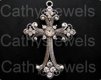 Antique Silver Renaissance Cross Two Pieces