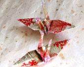 Coral Sea Fan Peace Crane Bird Ocean Beach, Wedding Cake Topper, Party Favor Ornament Origami  Eco Friendly Paper Gold Orange White Nautical