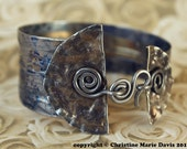 SALE blue velvet TIN CUFF bracelet ......dancing on the carousel of time .... made from recycled tin and smashed buttons