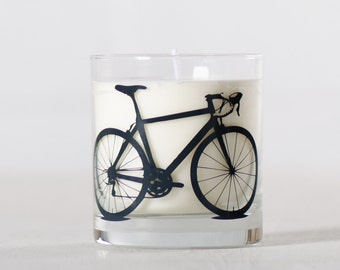 Charcoal Bike Candle - Warm Laundry - Soy candle in reuseable screen printed bicycle rocks glass