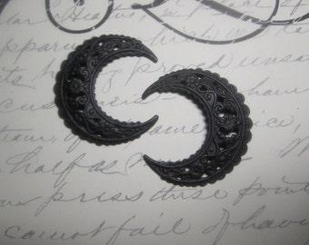 Crescent Moon Black Finish Medium Filigree Steampunk Goth Supplies on Etsy x 2