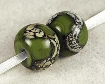 Army Green Handmade Lampwork Glass Beads, Lampwork Bead Pair,  Handmade Lampwork, Green Beads, Organic Web, Glossy 14x11mm Army Green