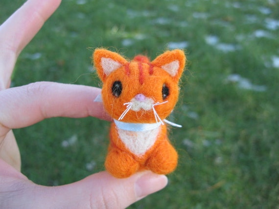 Needle Felted Ginger Kitty Cat Oliver
