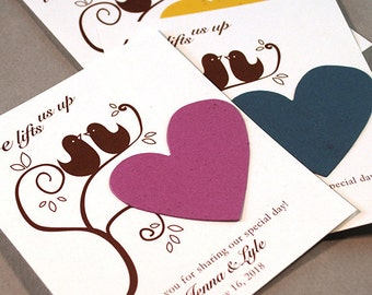 25 Love Birds Seed Paper Plantable Wedding Favors