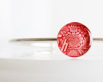 Cuff bracelet | Postage stamp | Czechoslovakia | Red | Heart
