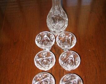 Vintage Elegant Cut Glass Sherry Decanter and Glasses Set Pinwheels & Whirling Stars