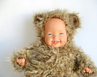 Vintage Anne Geddes Doll wearing Teddy Bear Suit RARE stuffed animal