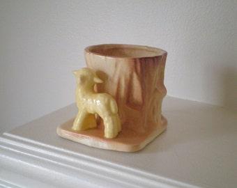 Sweet Little Lamb and Tree Stump Vintage Ceramic Plant Holder / Vase, Circa 1970s