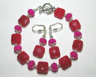 Rose Jade Bracelet and Earring Set