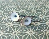 tiny poppy earrings torch fired enamel oxidized silver milky white vitreous enamel