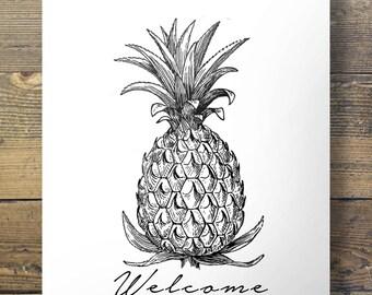 Welcome Pineapple   Printable art   tropical vintage modern minimal illustrated sketch Printable wall art   digital print