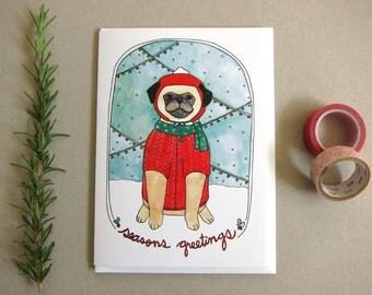 Pug Card - Holiday Card - Christmas Card - Pug Christmas Card - Pug Seasons Greetings - Christmas Pug - Pug Blank Card- Seasons Greetings
