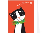 Greeting cards tuxedo cat with wreath and star merry christmas cards