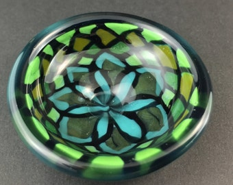 Small Blue Green Fillachello Glass Jewelry Dish -Dan Rushin