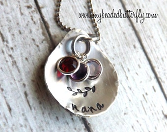 personalized necklace- nana necklace-Grandmother necklace-hand stamped jewelry-birthstone necklace - mom necklace - nana gift