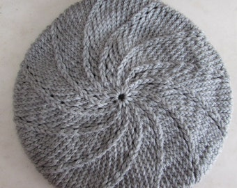 Hand Knit Berets  Adult Black/Gray Stripe  Black or Gray