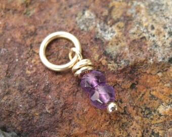 Tiny Amethyst Charm Gold - February Birthstone Charm