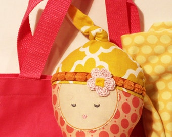 MINI Baby Doll stuffed rag doll diaper bag set bottle blanket first birthday gift kid girl baby soft toy fabric soft modern ready to ship