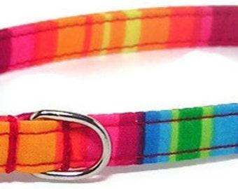 XS Dog Collar - Happy Rainbow Stripes - Extra Small, Teacup, Miniature - Fancy, Soft and Handmade