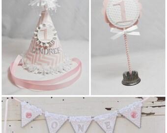 Chevron Smash Cake Photo Props- Girl 1st Birthday- Set of 3- Personalized