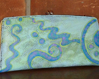 Hand Painted Clutch Purse Handbag Funky Abstract Painting on New Clutch Purse