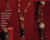 Handmade Natural Serpentine Multi Gem Pendant Necklace~ArtRave Item 5N-21936