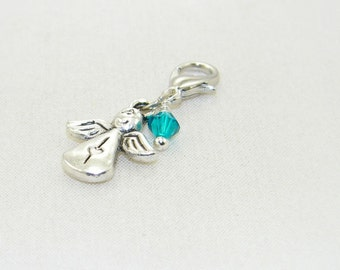 Birthstone angel lobster claw charm lobster claw charm for link bracelets and necklaces, clip on charm, zipper charm, made to order