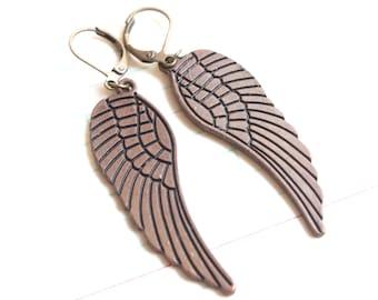 Bronze Angel Wings Earrings, Neo-Victorian, Nature Inspired, Wedding, Bridesmaid