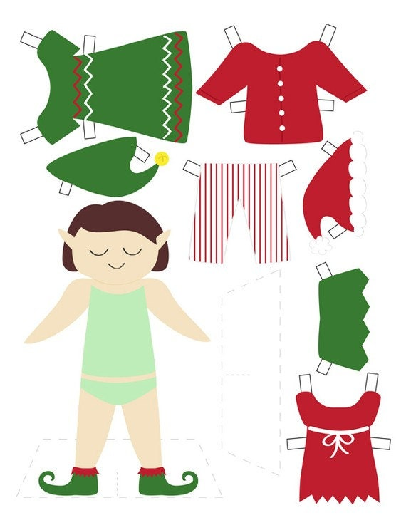 Holiday printables advent calendar elf paper doll coloring sheets