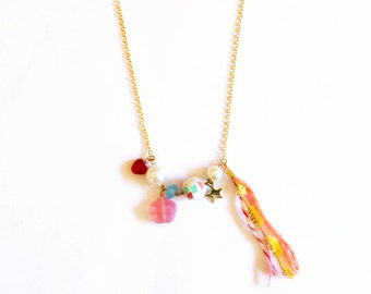 colorful necklace with flowers, hearts, and stars