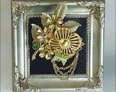 Vintage Collage Brooch butterfly flowers pin rhinestones upcycled
