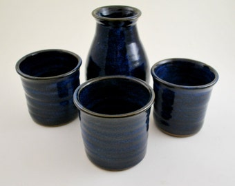 Cobalt Blue Sake Set Wheel Thrown Stoneware Pottery Free Shipping