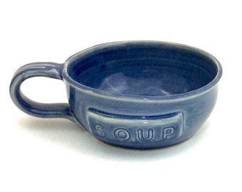 Ceramic Soup Mug Blue Soneware clay Pottery
