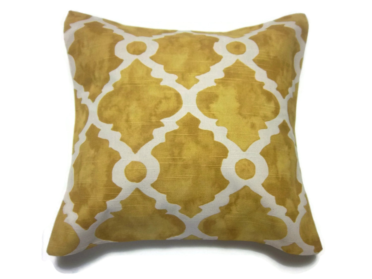 Decorative Pillow Cover Mottled Yellow Gold by LynnesThisandThat