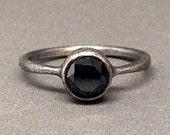 1ct black diamond engagement wedding ring oxidized sterling silver wedding ring modern ring simple feminine eclectic wedding ring