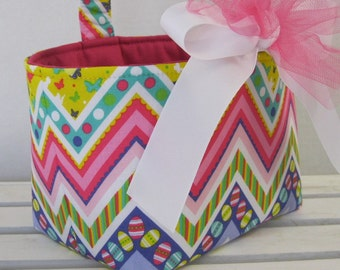 Easter Fabric Candy Egg Hunt Basket Bucket Storage Container Bin - Multi Color Chevron Zig Zag