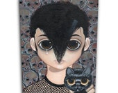 Big Eyed DANZIG with Big Sad Eyes Black Cat. Canvas Print of an Acrylic On Canvas Painting. Hand signed and numbered.