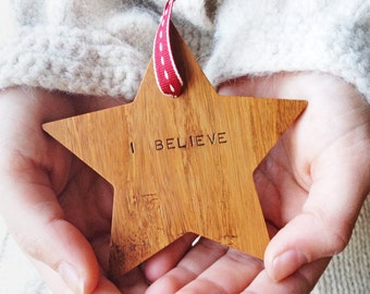 Wooden 'I Believe' Christmas Star Tree Decoration. Handmade Tree Decoration. Wooden Christmas Keepsake.