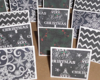 Snowflake Christmas with Chalk  Note Cards / Gift Tags / Place Cards Set Of 20