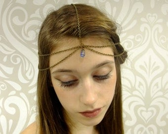 Antiqued Brass and Periwinkle Headchain, Medieval Princess Headpiece, Gypsy Hair Piece, Antiqued Brass Headpiece, Circlet, Boho Headpiece