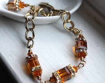 Topaz Swarovski Crystal Bracelet Gold Wire Wrapped Crystal Rhinestones