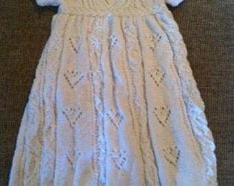 Hand knit christening dress
