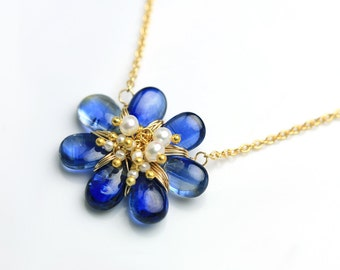 Kyanite Flower Necklace with Freshwater Pearl Cluster