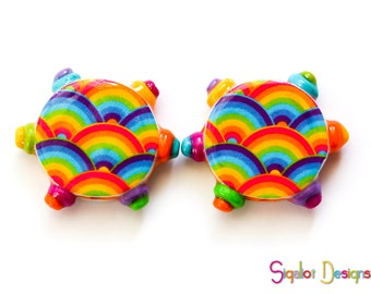 Polymer clay round flat beads - Rainbow design beads - colorful rainbow beads * Multicolored beads 20mm (2)