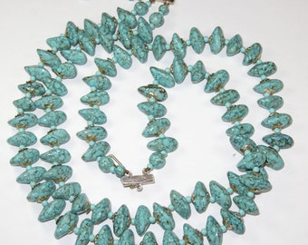 SJK VINTAGE -- Hong Kong Signed Faux Turquoise Plastic Beaded Two Stranded Necklace (1950's-60's)