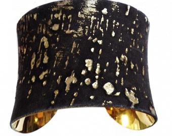 Gold Embossed Black Cork Finished Suede Cuff - by UNEARTHED